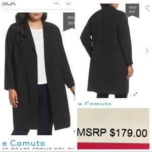 NWT! Vince Camuto TEXTURE DRAPE FRONT COL DUSTER